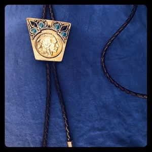 Men's jewelry Bolo Indian silver turquoise
